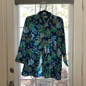 Banana Republic teal floral button up blouse NWT